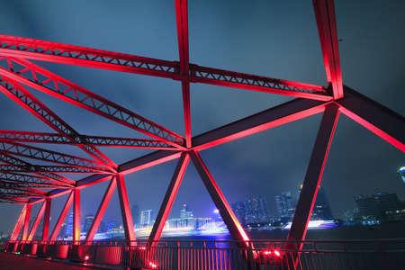 Steel structure bridge close-up night scene photo
