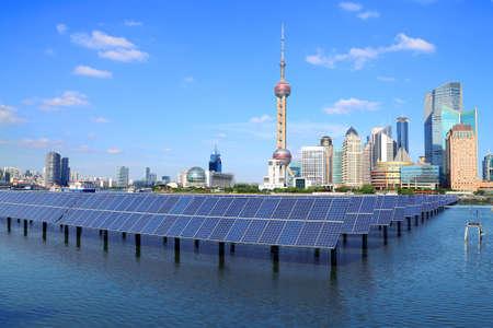 renewable energy resources: Shanghai Bund skyline landmark ,Ecological energy renewable solar panel plant