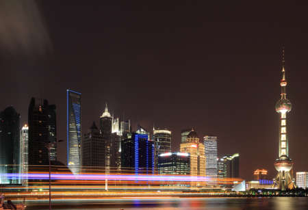Shanghai skyline at New night attractions landscape photo