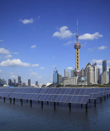 Shanghai Bund skyline landmark ,Ecological energy renewable solar panel plant at concept