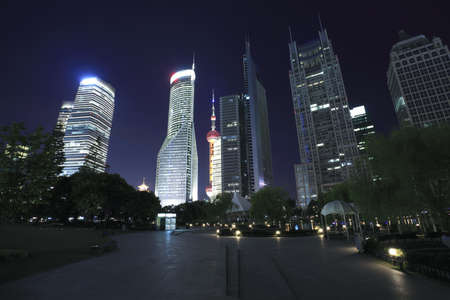 Shanghai Lujiazui Finance and City landmark buildings Urban night landscape  photo