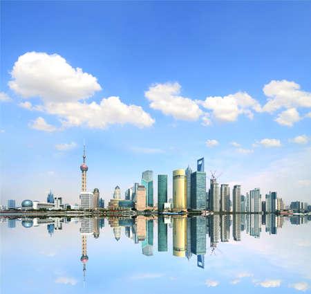 far east: Bund Shanghai Lujiazui moderna arquitectura horizonte de paisaje urbano en el Lejano Oriente Foto de archivo