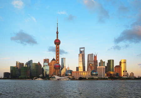 Clear Skies at shanghai of modern city architecture skyline   Stock Photo