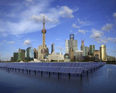 Shanghai Bund skyline landmark ,Ecological energy renewable solar panel plant at concept  Stock Photo