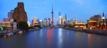 Shanghai bund landmark at New panorama skyline  Stock Photo