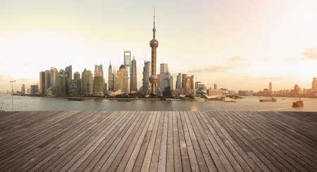 Shanghais landmark skyline prospects of wood floor corridor at urban buildings landscape  photo
