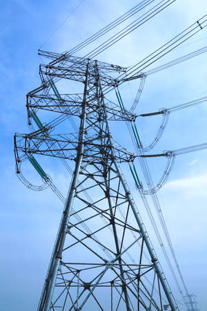 Bottom look up power transmission towers