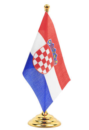 Croatia National flag hanging on the gold flagstaff, Isolated on the white background  photo
