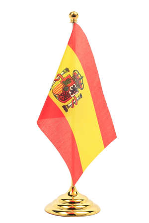 Spain flag hanging on the gold flagstaff, Isolated on the white background photo