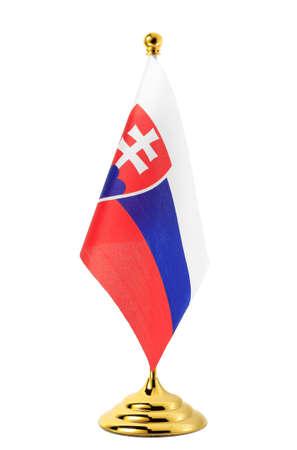 slovak: Flag of Slovak  hanging on the gold flagpole,Isolated on the white background