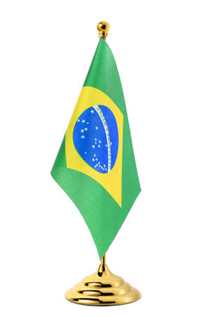 brazil country: Flag of Brazil hanging on the gold flagpole,Isolated on the white background