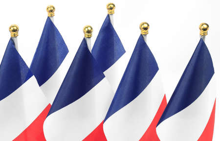 france flags queue,Isolated on the white background photo