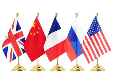 nations:  Flag of China France Russia UK USA,Isolated on the white background