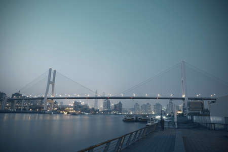 Modern steel cable-stayed bridge beams at night in Shanghai  photo