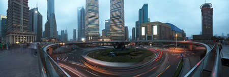 The street scene of the century avenue at night panoramic photo in shanghai,China   photo