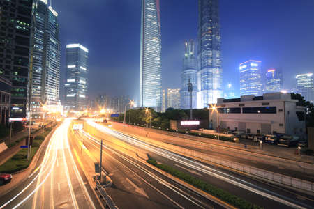 Background night view of Shanghai pudong lujiazui city landmark buildings
