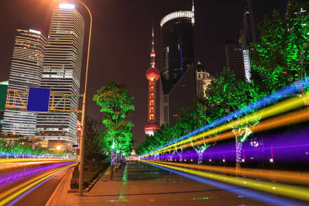 Far East Holiday Night Light trace modern architecture  background in Shanghai Stock Photo - 28056101