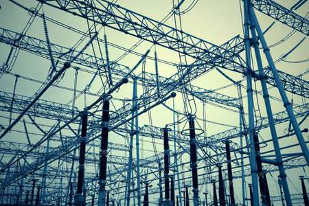 Bottom look up power transmission towers   photo