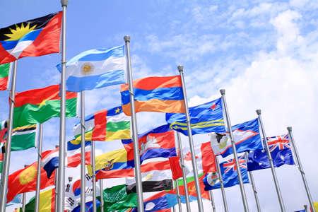 Brazilië Argentinië en wereld vlaggen vliegt