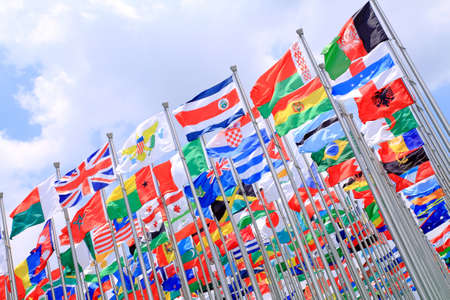 Britain and world national flags is flying photo