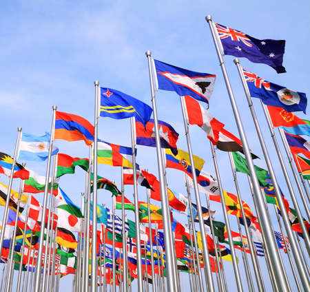 British Commonwealth and  world national flags is flying