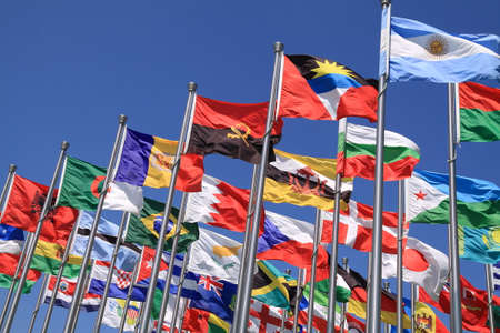 the world expo: Brazil and world national flags is flying
