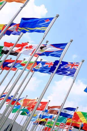 Australia and world national flags is flying photo