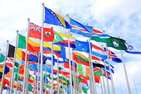 The national flags is flying around the world Stock Photo
