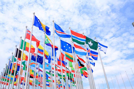 The national flags is flying around the world photo