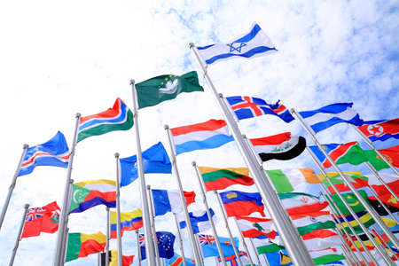 Israel and British Commonwealth flags and world national flags is flying