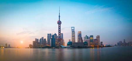 Lujiazui Finance&Trade Zone of Shanghai bund landmark city at sunrise panorama skyline photo