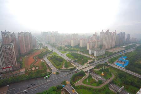 Aerial view of Nanchang Honggutan at City overpass