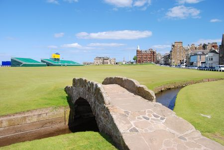 Swilken Burn Bridge At The Old Course Stock Photo