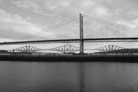 forth: Forth Road andRail Bridges Stock Photo