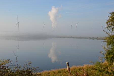 windfarm: Mist at Lochgelly Windfarm Stock Photo