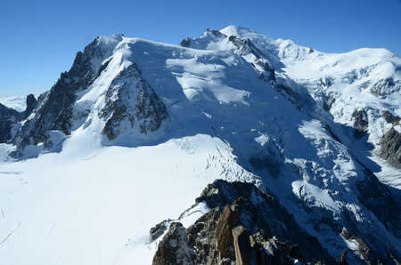crevasse: View of Mont Blanc Stock Photo