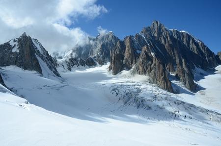 icefield: Peaks above Icefield Stock Photo
