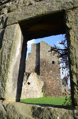 lintel: Castle Through Window Stock Photo