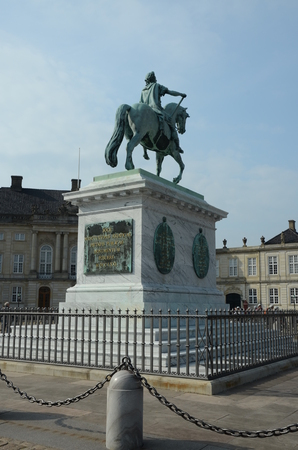 Amalienborg Palace and Statue Editorial
