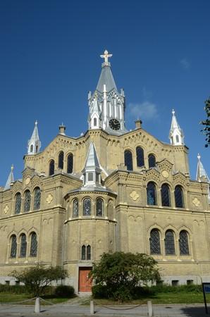 numeros romanos: Edificio de la Iglesia de Malmö Foto de archivo