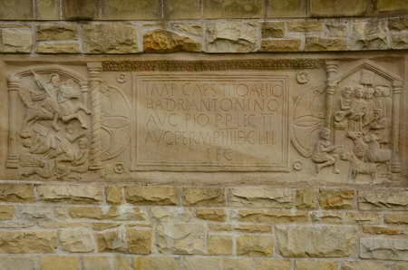 Carving on the Antonine Wall in Scotland