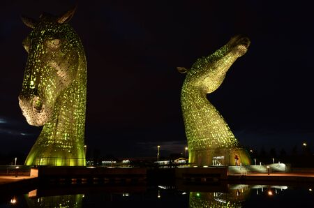 Kelpies Light Green Pair at The Helix Park in Falkirk, Scotland Editorial