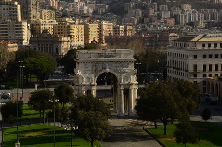 View of Genoa Victory Arch Stock Photo