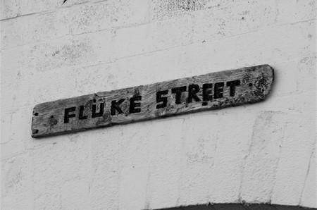 Fluke Street Sign Stock Photo