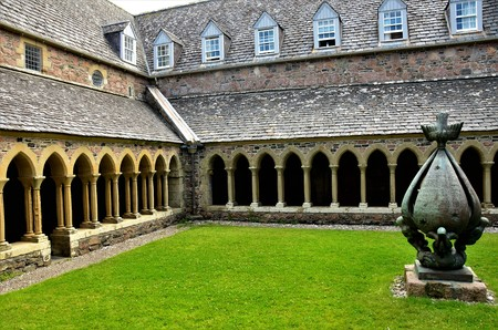 A view of the architectural detail around the cloister inside the historic abbey on Iona