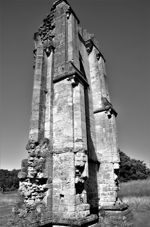 A view of the extensive ruins of the medieval Kirkham priory in North Yorkshire