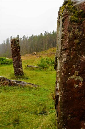 A view of the ancient Kilmore standing stones on the Island of Mull