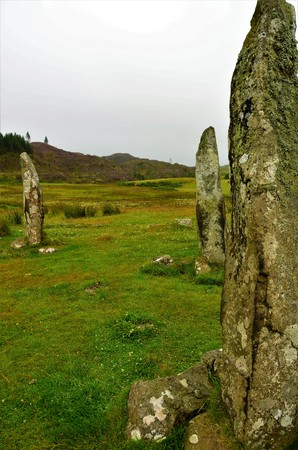 A view of the Glengorm standing stones on the island of Mull