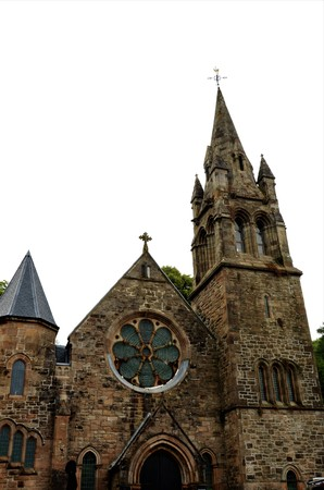 An exterior view of an old church building in Tobermory on the Island of Mull in Scotland