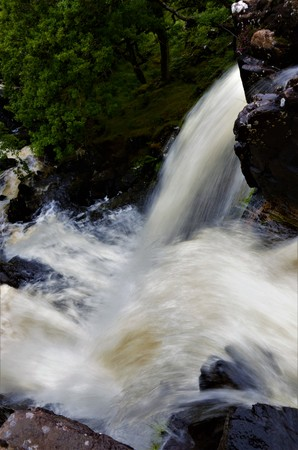 A view of the Eas Fors waterfall on the Isle of Mull